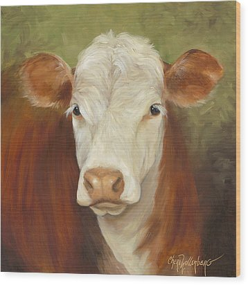 Wood Print featuring the painting Ms Sophie - Cow Painting by Cheri Wollenberg