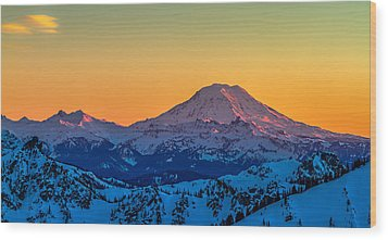 Mt Adams Sunset Review-2 Wood Print