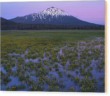 Mt. Bachelor Twilight Wood Print by Kevin Desrosiers