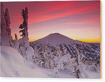 Mt. Bachelor Winter Twilight Wood Print by Kevin Desrosiers