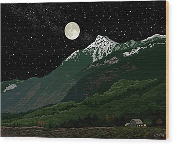 Mt Cheam In Moonlight Wood Print