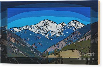 Mt Gardner In The Spring Abstract Painting  Wood Print