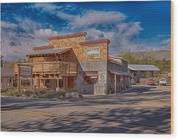 Mt Gardner Inn And Fly Shop Wood Print by Omaste Witkowski
