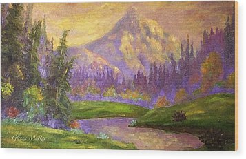 Mt. Hood At Dawn's Early Light Wood Print