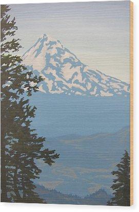 Wood Print featuring the painting Mt Hood by Karen Ilari