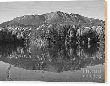 Mt Katahdin Black And White Wood Print by Glenn Gordon