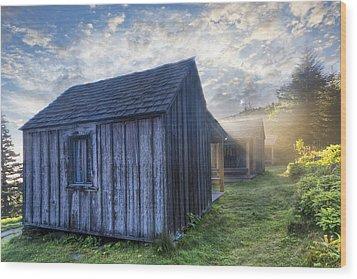 Mt Leconte Cabins Wood Print by Debra and Dave Vanderlaan