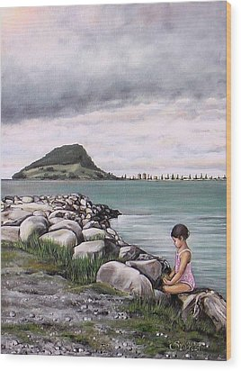 Wood Print featuring the painting Mt Maunganui 140408 by Sylvia Kula