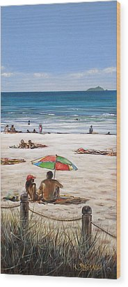 Mt Maunganui Beach 090209 Wood Print by Sylvia Kula