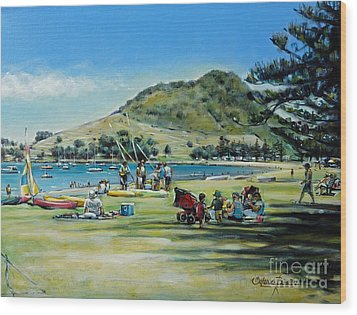 Wood Print featuring the painting Mt Maunganui Pilot Bay 201210 by Selena Boron