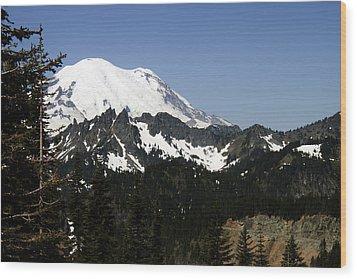 Mt Rainer From Wa-410 Wood Print