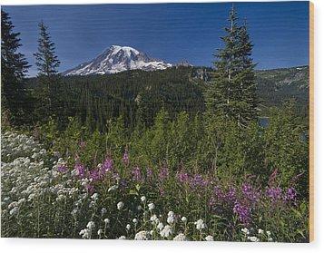 Mt. Rainier Wood Print by Adam Romanowicz
