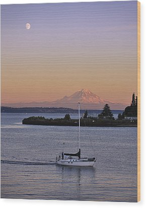 Mt. Rainier Afterglow Wood Print by Adam Romanowicz