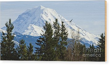 Mt. Rainier And A Bald Eagle  Wood Print by MaryJane Armstrong