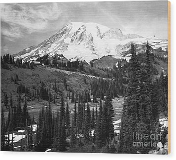 Wood Print featuring the photograph Mt. Rainier And Paradise Lodge 1950 by Merle Junk