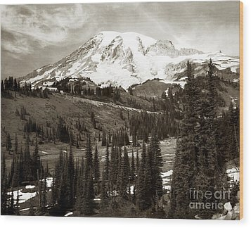 Wood Print featuring the photograph Mt. Rainier And Paradise Lodge In Sepia 1950 by Merle Junk