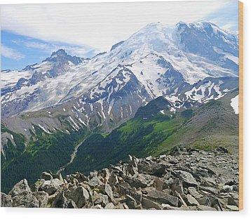 Mt Rainier From Sunrise Wood Print