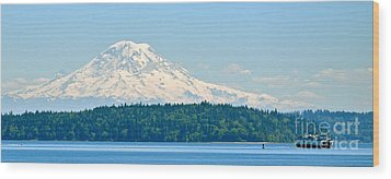 Mt Rainier From The Sound Wood Print