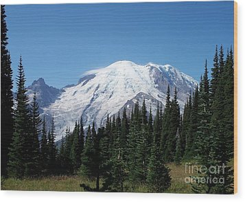 Mt. Rainier In August Wood Print by Chalet Roome-Rigdon