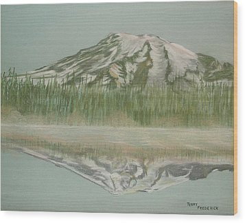Mt Rainier Wood Print by Terry Frederick