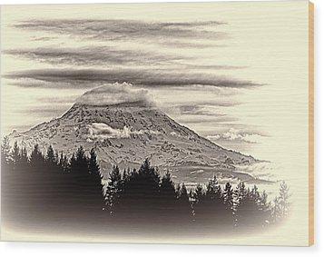Mt. Rainier Wa In Black And White Wood Print by Ron Roberts