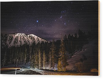 Mt. Rose Highway And Ski Resort At Night Wood Print by Scott McGuire