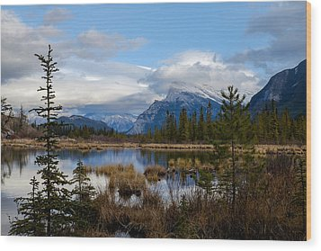 Mt Rundel Over The Lake Wood Print