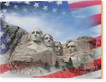 Mt Rushmore Flag Frame Wood Print by David Lawson