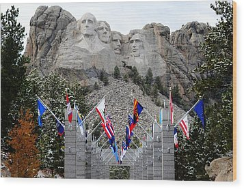 Mount Rushmore Flagway  Wood Print