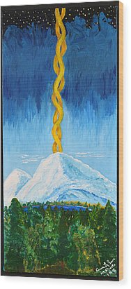 Wood Print featuring the painting Mt. Shasta by Cassie Sears