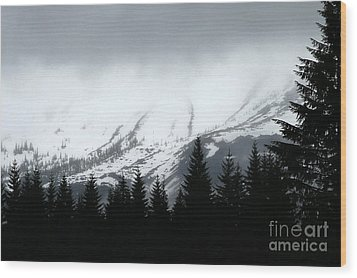 Mt St Helens........a Looming Storm Wood Print by Rich Collins