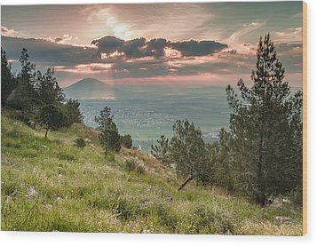 Mt. Tabor From Mt. Of Precipice Wood Print by Sergey Simanovsky