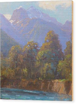 Mt. Tewhero Holyford V.landscape Wood Print by Terry Perham