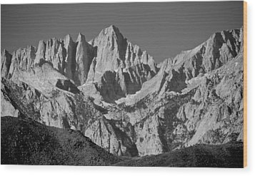 Mt. Whitney In Black And White Wood Print by Eric Tressler