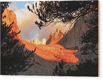 Wood Print featuring the photograph Mt. Whitney Sunrise by Alan Socolik