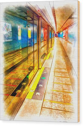 Mtr Admiralty Station In Hong Kong Wood Print by Yury Malkov