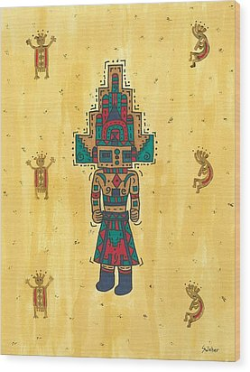 Wood Print featuring the painting Mudhead Kachina Doll by Susie Weber
