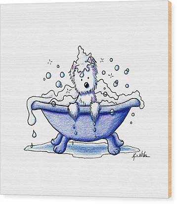 Muggles Bubble Bath Wood Print by Kim Niles