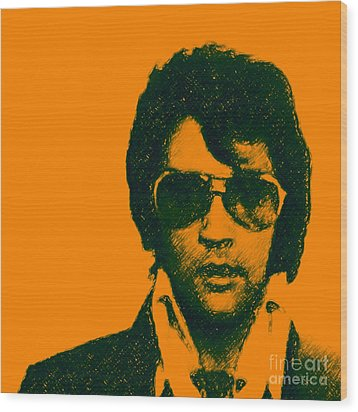 Mugshot Elvis Presley Square Wood Print by Wingsdomain Art and Photography