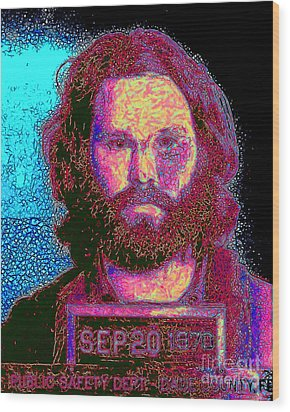 Mugshot Jim Morrison 20130329 Wood Print by Wingsdomain Art and Photography