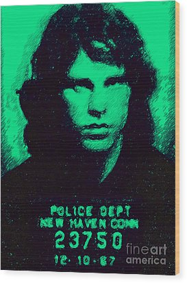 Mugshot Jim Morrison P128 Wood Print by Wingsdomain Art and Photography