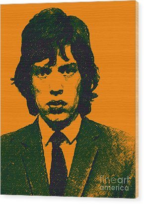 Mugshot Mick Jagger P0 Wood Print by Wingsdomain Art and Photography