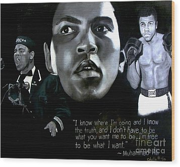 Muhammad Ali Wood Print by Chelle Brantley