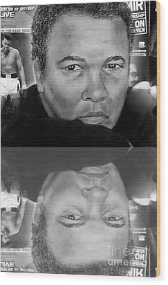 Muhammad Ali Formerly Known As Cassius Clay Version II With Reflection Wood Print by Jim Fitzpatrick
