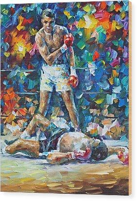Muhammad Ali Wood Print by Leonid Afremov