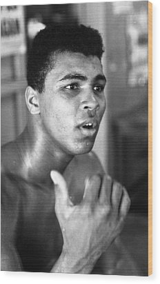 Muhammad Ali Intently Wood Print by Retro Images Archive