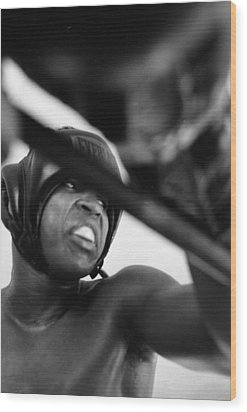 Muhammad Ali Looking Sideway Through Rope Wood Print by Retro Images Archive