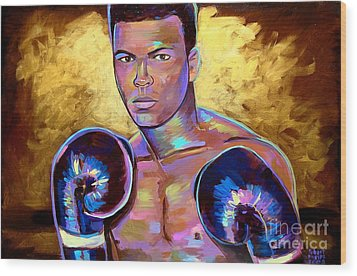 Wood Print featuring the painting Muhammad Ali by Robert Phelps