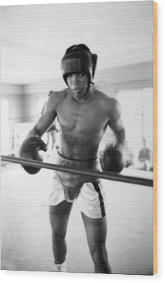Muhammad Ali Training Inside Ring Wood Print by Retro Images Archive