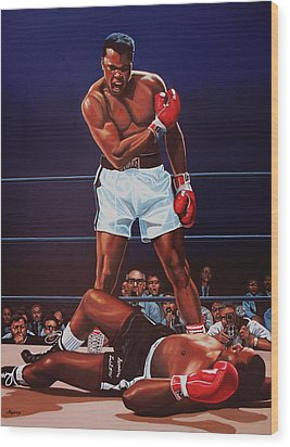 Muhammad Ali Versus Sonny Liston Wood Print by Paul Meijering